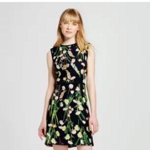 Victoria Beckham Black English Floral Satin Dress